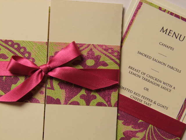 Styling Ideas To Match Our Lime Pink Damask Wedding Stationery