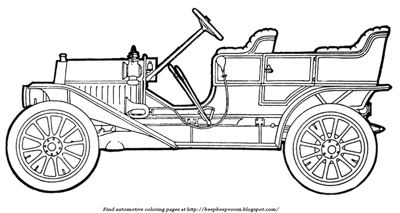 Description Of The Coloring Page Model T Leather Seats Wheels Car Horn