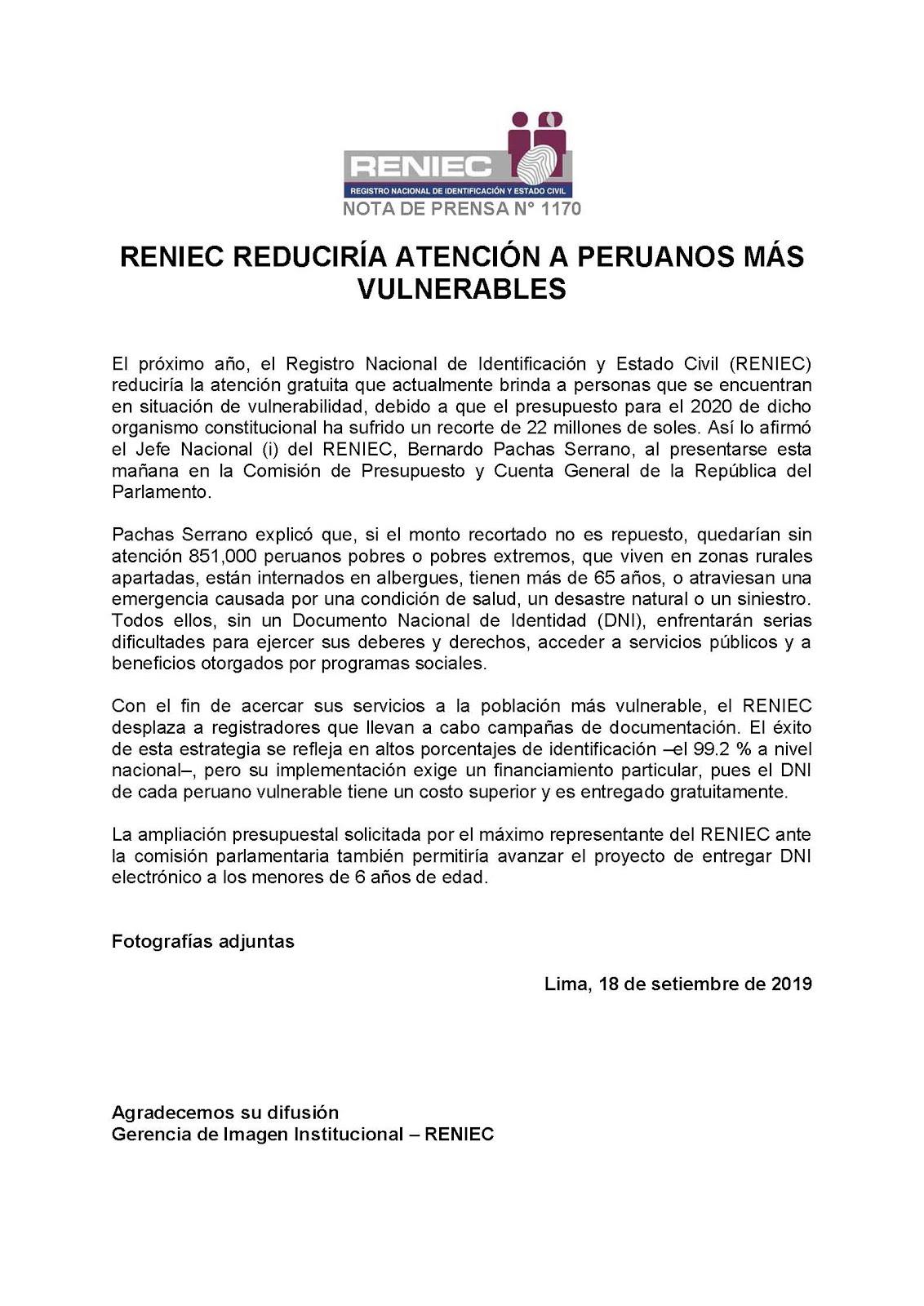 NOTA DE PRENSA - RENIEC
