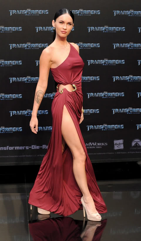 Rosie Huntington - Whiteley Vs. Megan Fox in Sexy Red Gown