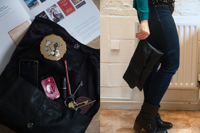Make your own leather clutch form a vintage waistcoat