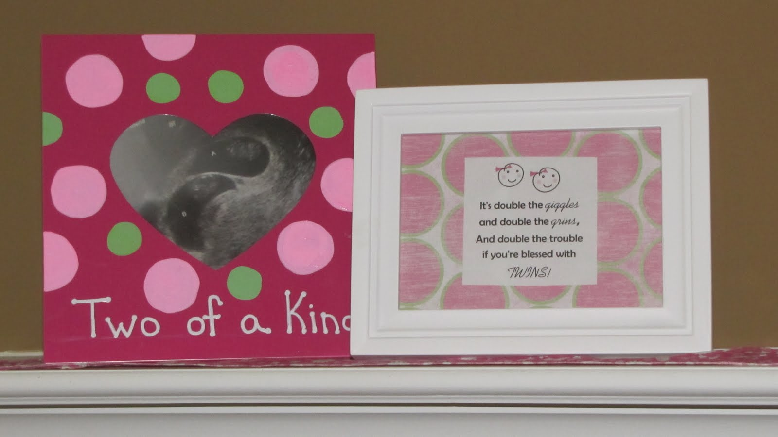 Special education a work of heart twins baby shower the pink frame is hand painted and includes her first sonogram picture of the twins the white frame has scrapbook paper for the backing which i found at jeuxipadfo Images