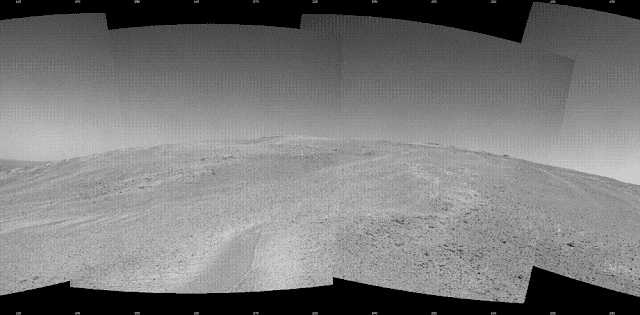 "NASA's Mars Exploration Rover Opportunity captured this southward uphill view after beginning to ascend the northwestern slope of ""Solander Point"" on the western rim of Endeavour Crater.  The view combines five frames taken by Opportunity's navigation camera on the 3,463rd Martian day, or sol, of the rover's work on Mars (Oct. 21, 2013). Opportunity had begun climbing the hill on Sol 3451 (Oct. 8) and completed three additional uphill drives before reaching this point. Credit: NASA/JPL-Caltech"
