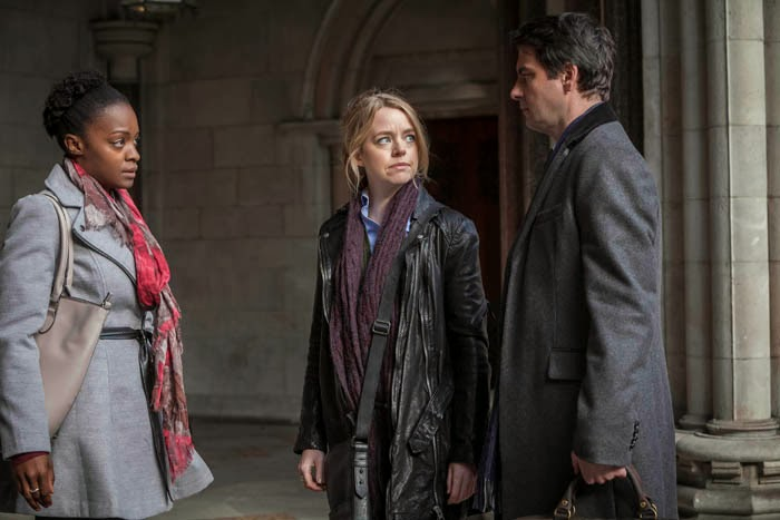 Law and Order: UK, ITV. ROSALYN WRIGHT as Miranda Jones, GEORGIA TAYLOR as Kate Barker and DOMINIC ROWAN as SCP Jacob Thorne