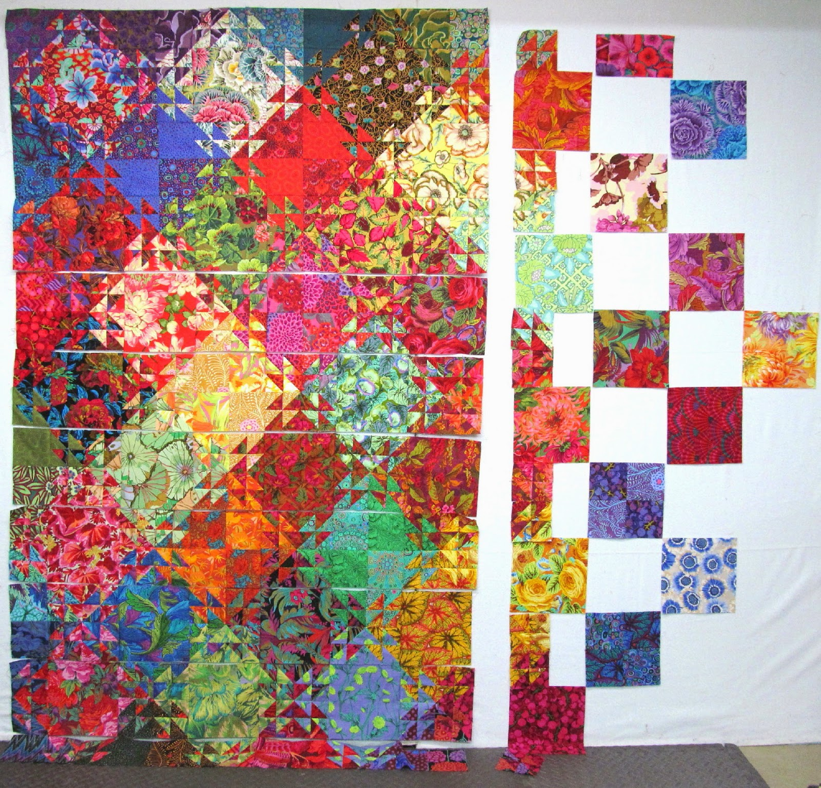 Exuberant Color : Triangle quilt progress report....