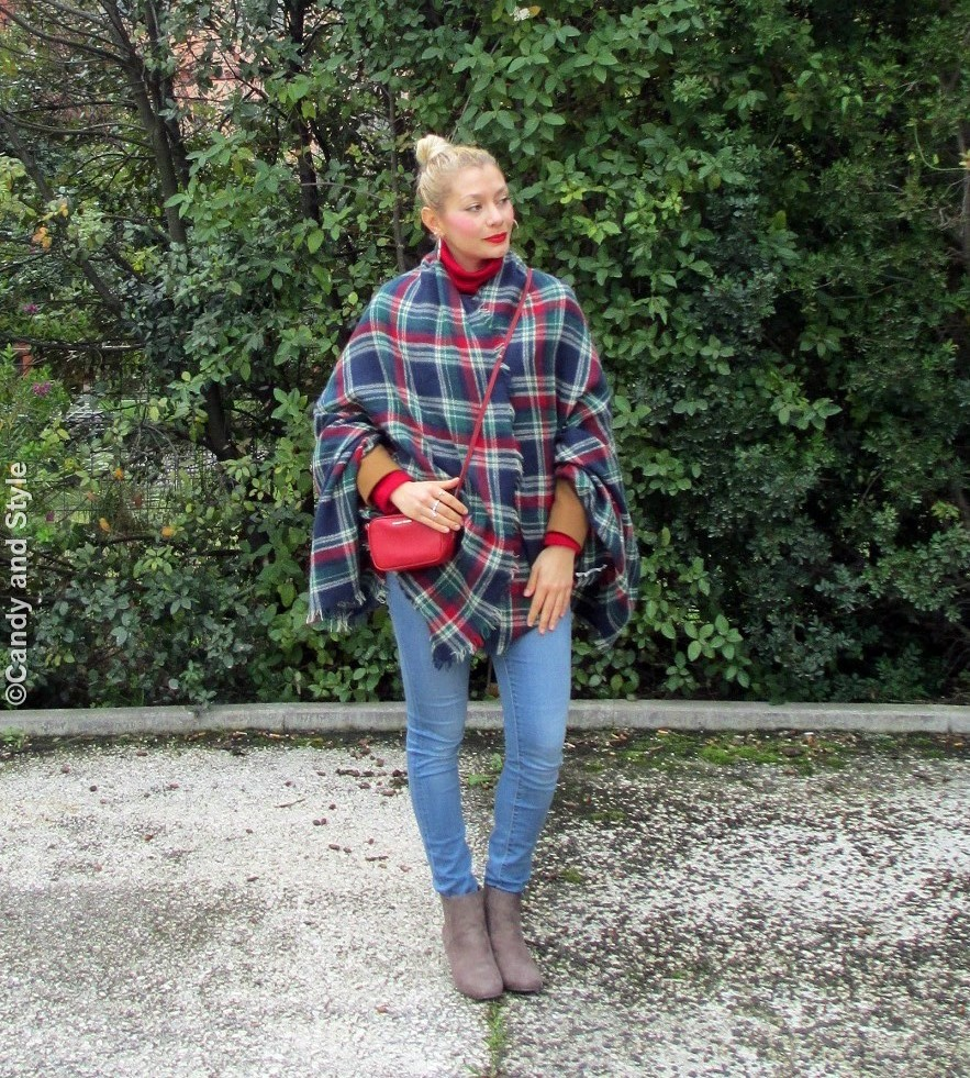 Plaid Cape - Denim - Ankle Boots
