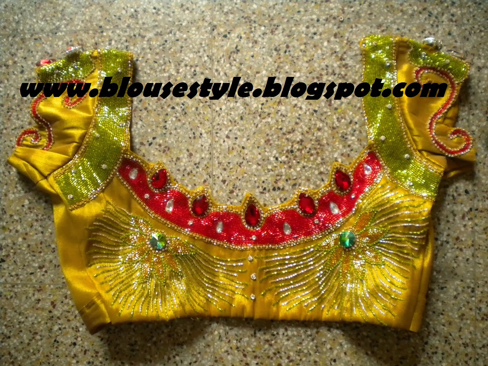 yellow designer stone and bridal work blouse