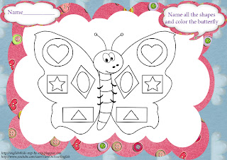 butterfly shapes coloring page for learning English