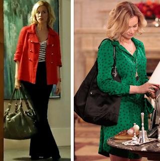 Looks de Juliana. Blazer vermelho e blusa listrada, e vestido de poas verde.