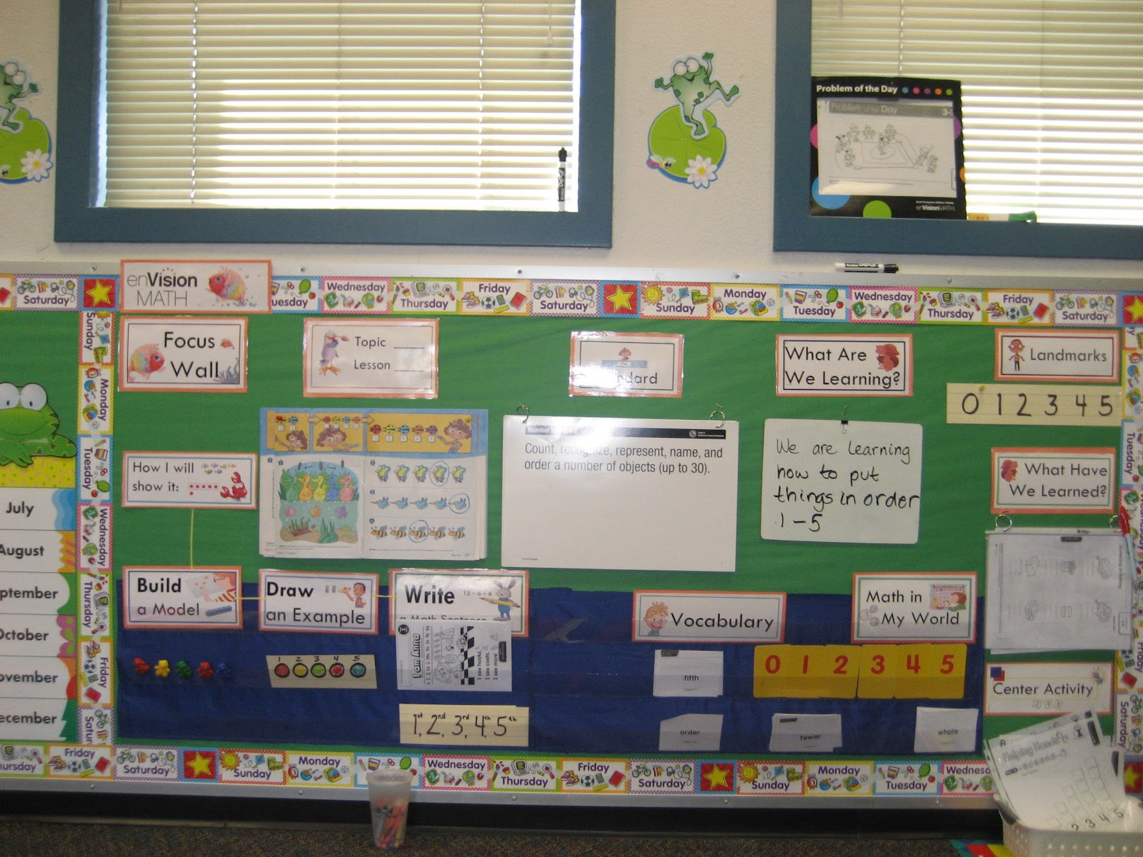 Math Focus Wall http://freshandfunfirstgrade.blogspot.com/2012/06/new-look-linky-party.html