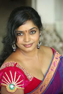 Actress Jayavani  Pictures in Saree at Rajamahal Pre Release Press Meet  0011