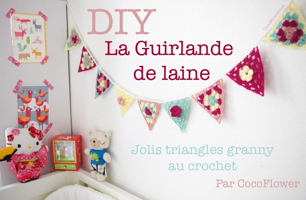 cocoflower diy cr ations tuto crafts crochet handmade diy guirlande triangles granny au. Black Bedroom Furniture Sets. Home Design Ideas