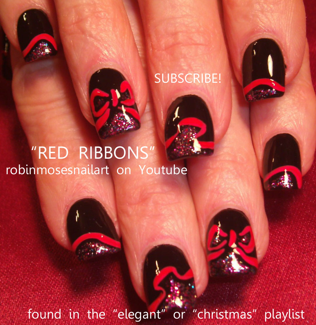 Nail Art Design: black with red ribbon nail, red and green graffiti ...