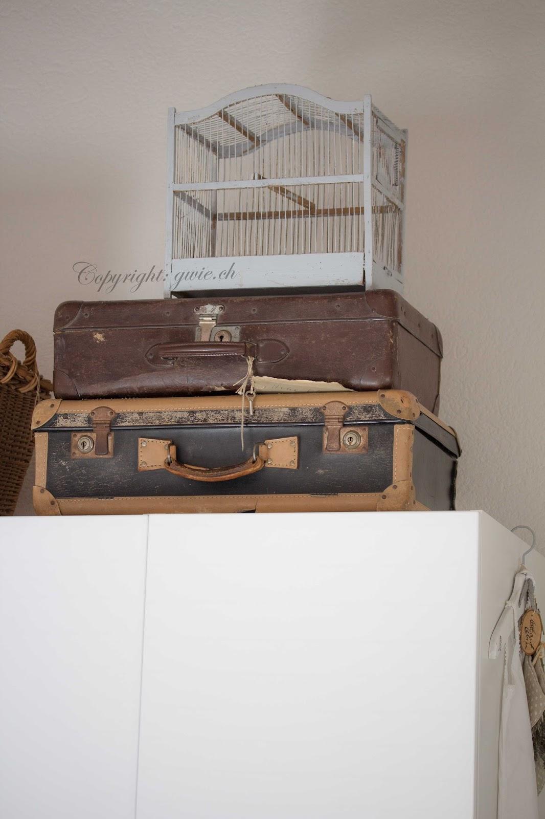 alter koffer, koffertrum, alter vogelkäfig, shabby koffer, koffer shabby chic