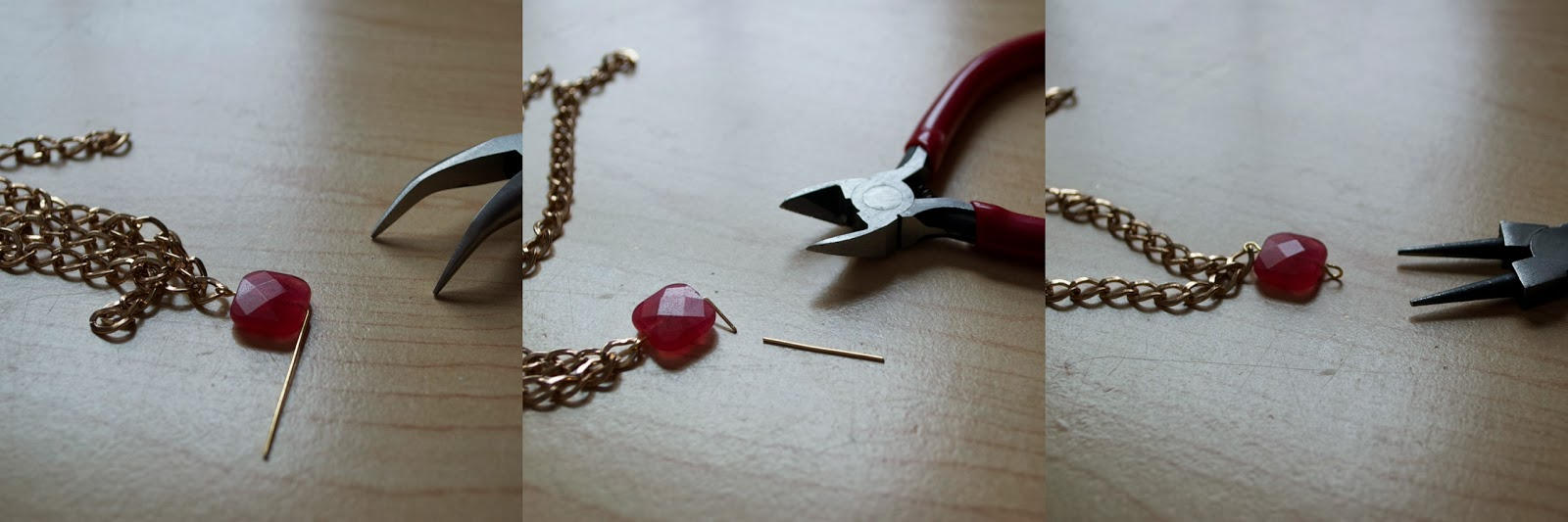 DIY Square Bead and Chain Necklace - My Girlish Whims