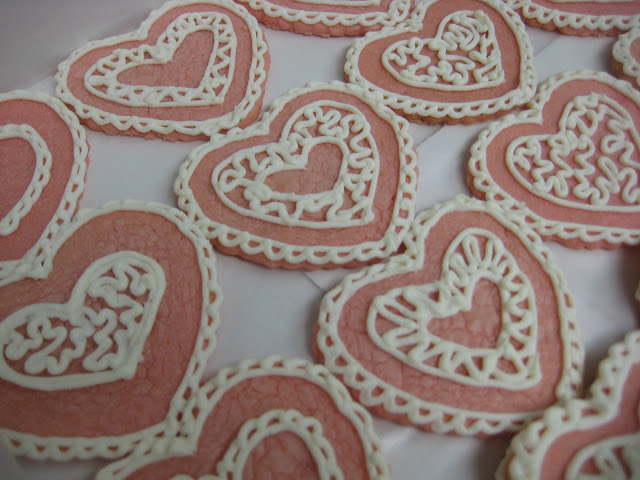 Valentines's Day Heart Cookies - Close-Up View