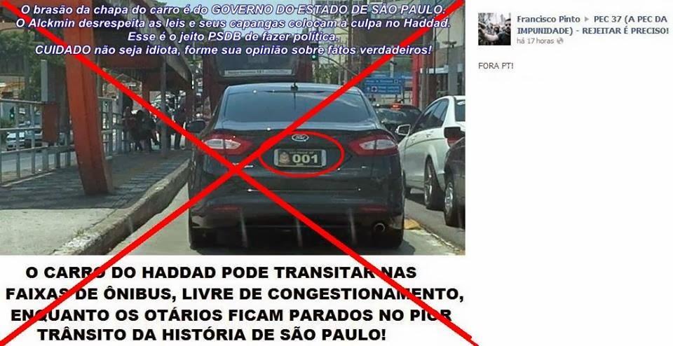 Alckmin desrespeita das Leis de trânsito e coloca a culpa em Haddad