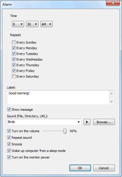 Free Alarm Clock 3.1 – Setting Alarm