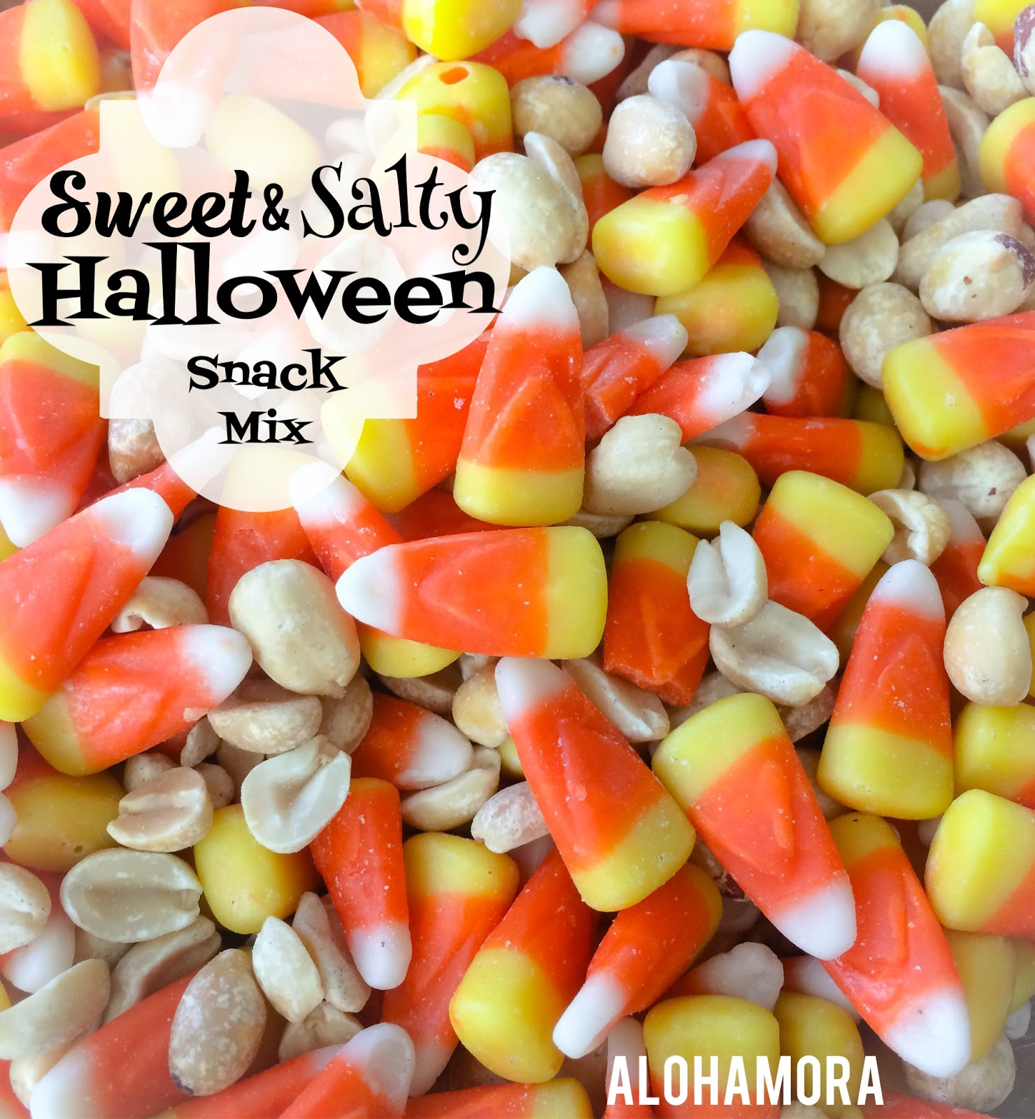Use Candy Corn and Peanuts to make this super fast and super easy Sweet and Salty Halloween Snack Mix.  Enjoy it for a party, munch on it while playing games or passing out treats.  Alohamora Open a Book http://alohamoraopenabook.blogspot.com/