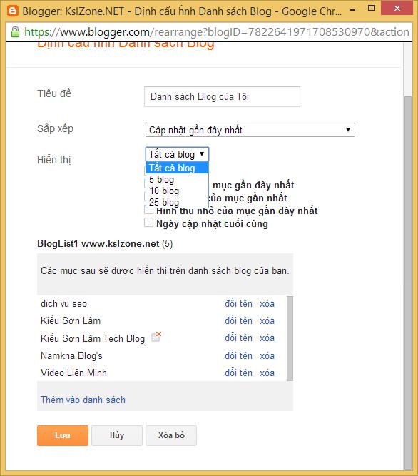 Giới hạn chiều cao widget danh sách blog của Blogger