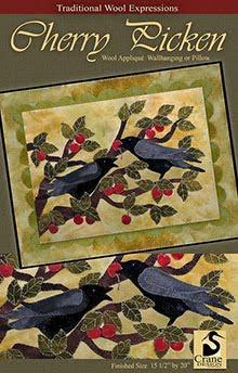 """Cherry Picken Wool Applique Wallhanging 12"""" x 22"""""""