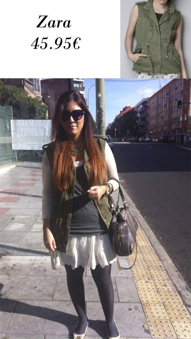 Chaleco militar Zara y look por Me and the City con él.