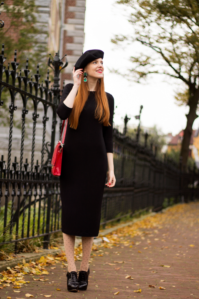 Polka dot seam tights, beret, black dress and emerald earrings vintage style outfit