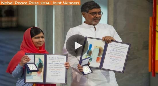 Malala Yousafzai and Kailash Satyarthi receive their Nobel Peace Prizes