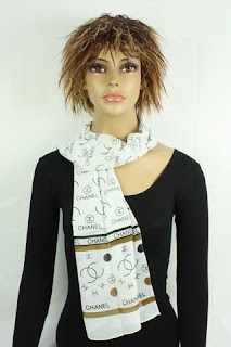 Channel Women White Silk Scarf