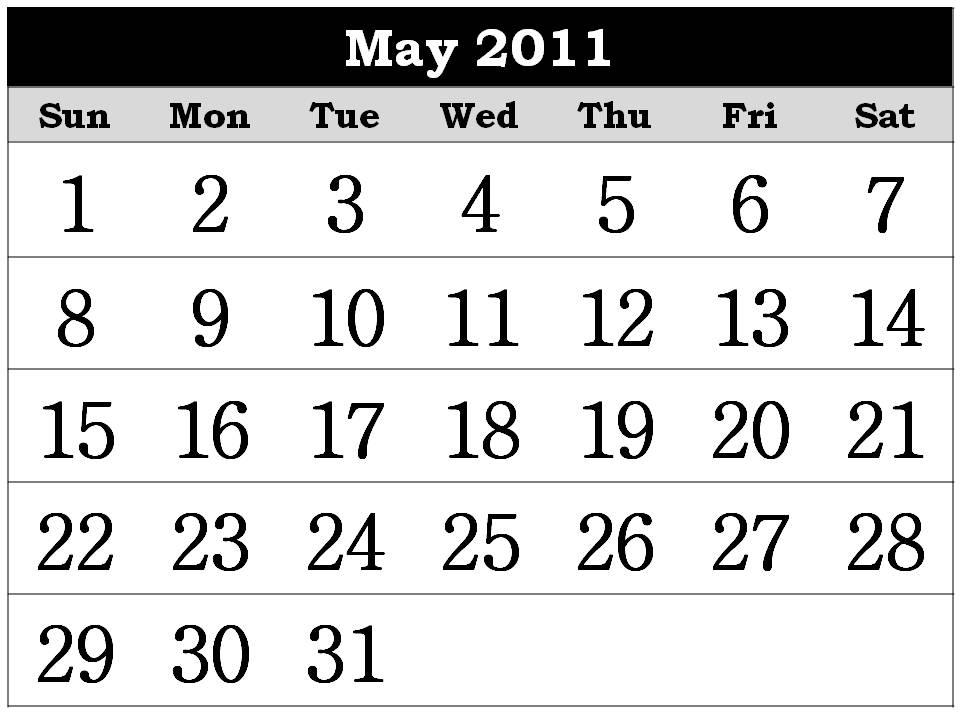 may calendar 2011 template. calendar may 2011 template