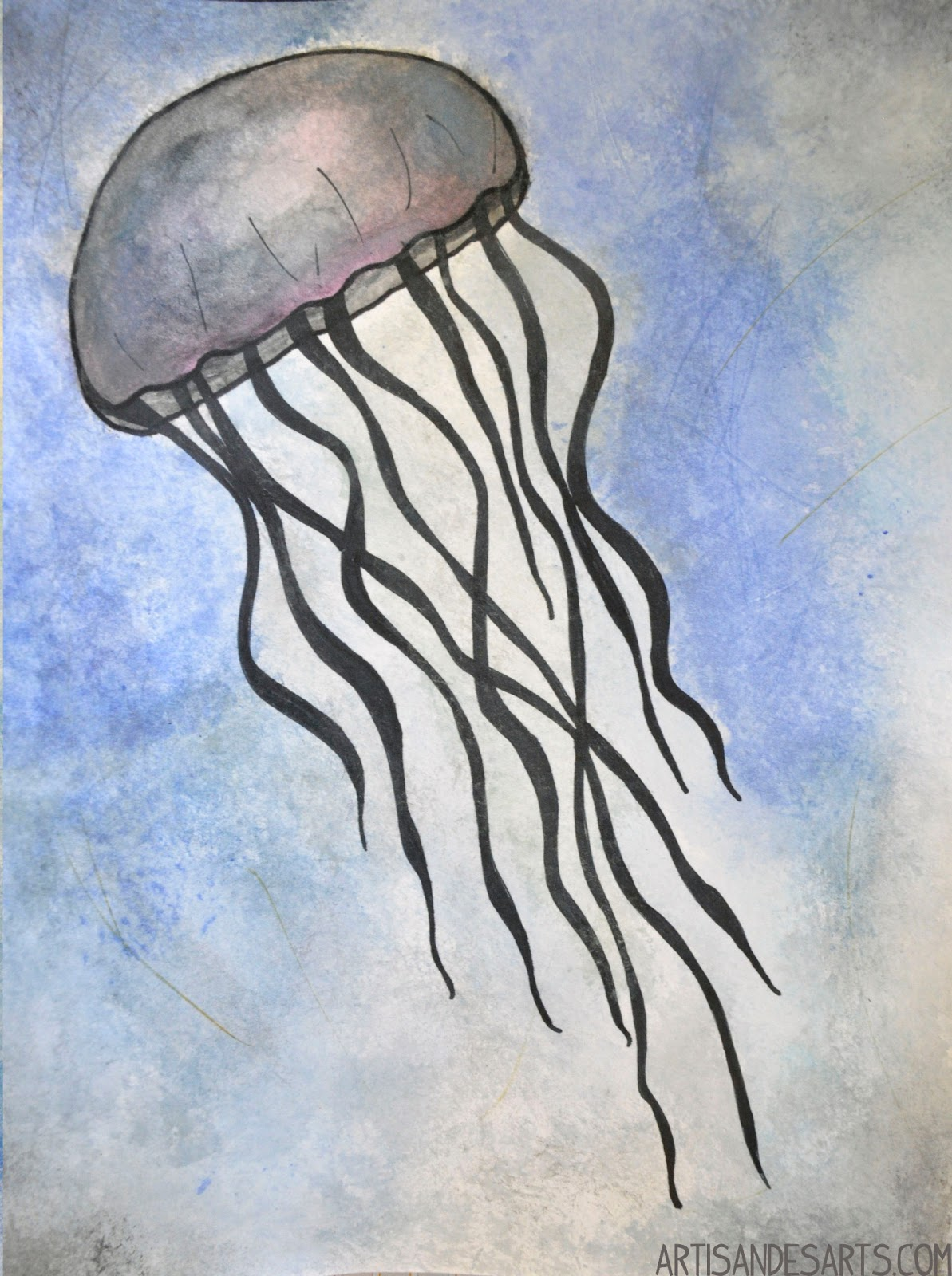 how to draw a jellyfish step by step