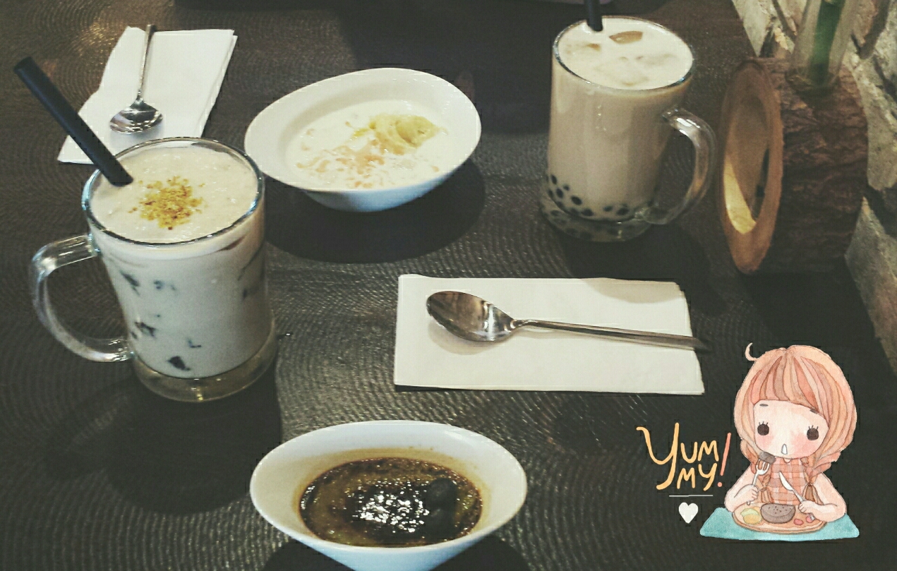 Superb img of ordered Japanese Roasted Sencha Milk Tea with Tapioca and a Durian  with #8A6341 color and 1271x809 pixels