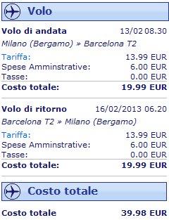 Milano Barcellona volo low cost