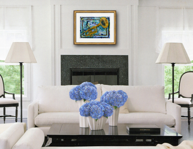living room decorating ideas blue and white mixed media trumpet painting by @schulmanArt http://schulmanart.blogspot.com/2015/12/the-time-between-years.html