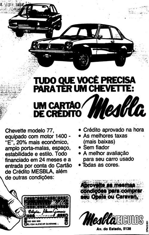 Propaganda da Mesbla em 1978 que anunciava um Chevette a venda no cartão de crédito.