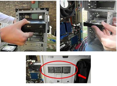 Colocación de discos rígidos y lectograbadora de DVD