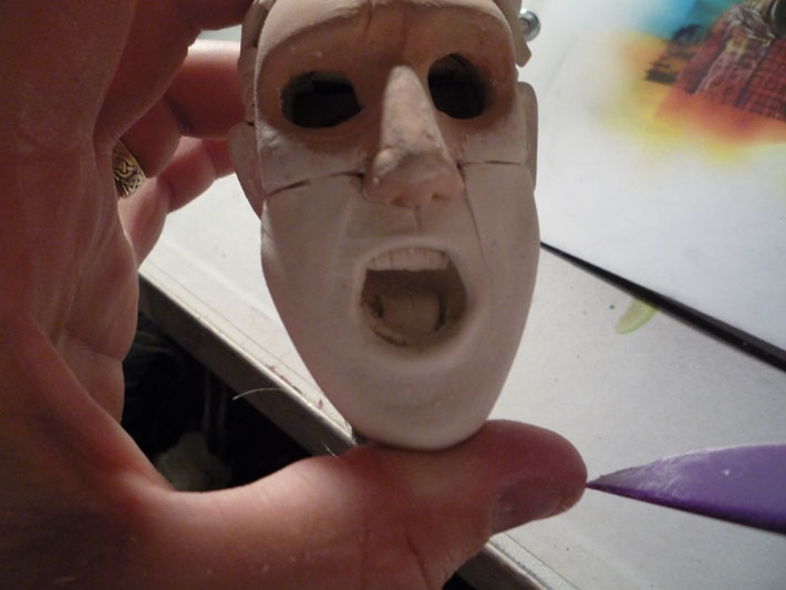 Replacement face for Stop motion puppet, Jeff Lafferty