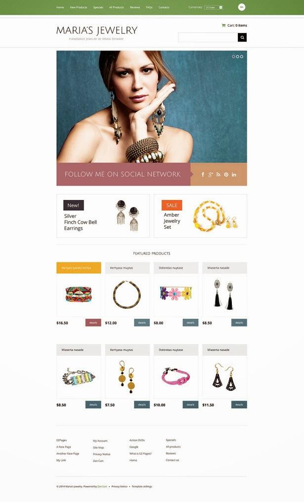 Handmade Jewelry ZenCart Template