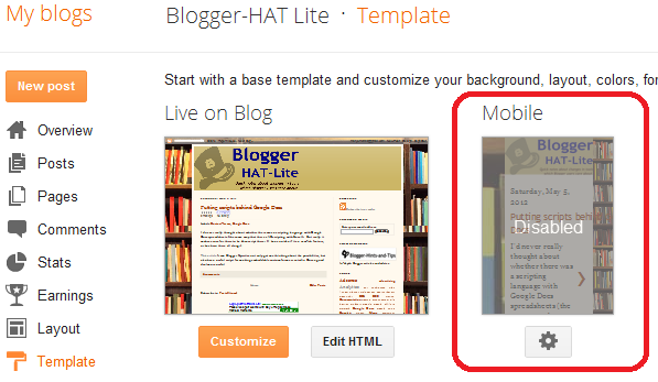 How to turn on a mobile theme template for blogs in blogger if the blog is not set up to use a mobile theme then the word disabled will be in the middle of the picture area although it may be hard to read maxwellsz