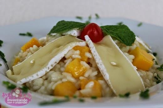 risoto com queijo brie, manga e gengibre
