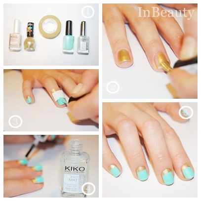 All you need is a base coat, a mat effect top coat, mint and gold nail polishes, and tape. Our base coat, top coat and mint nail polish are from Kiko,