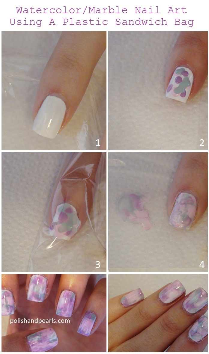 how to do the Marble Nail Art using a plastic sandwich bag