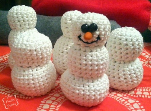 the funky felter WIP wednesday crocheted snowman with friends