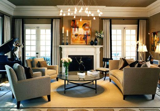beautiful taupe traditional living room