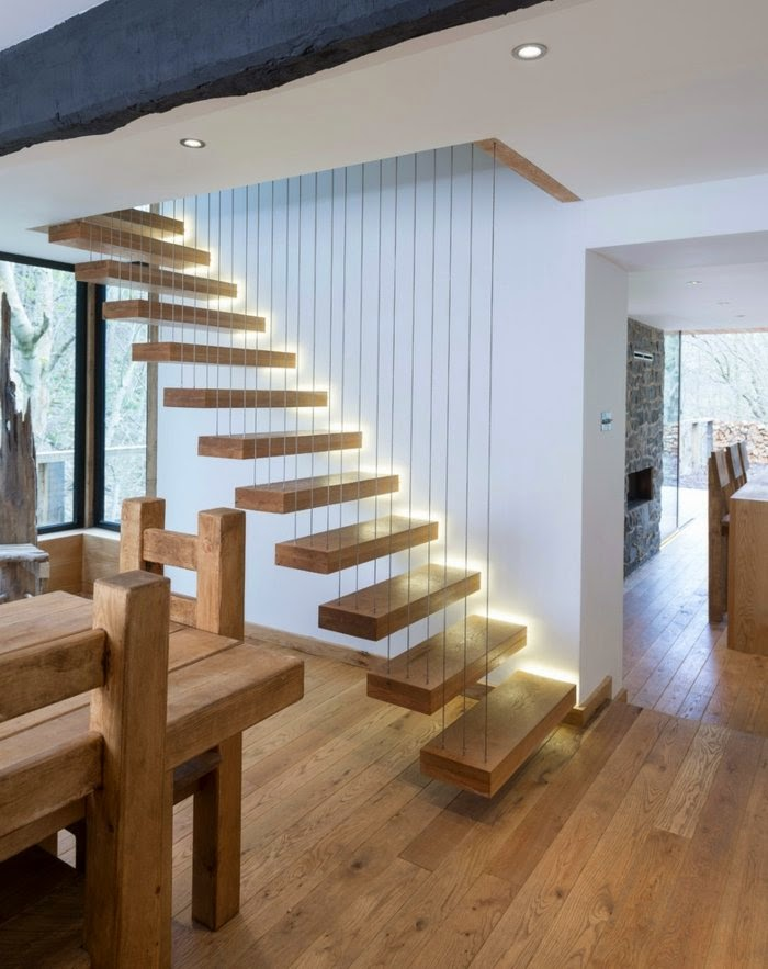 Floating staircase designs detailed look with suggestions for Free floating stairs