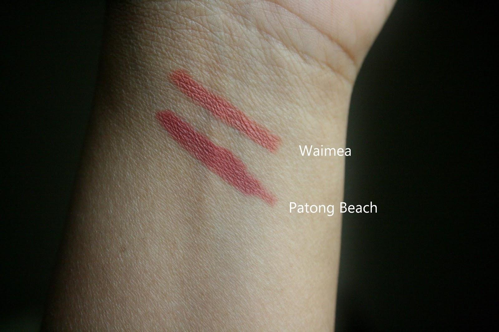 NARS Velvet Lip Liners Waimea and Patong Beach Swatches