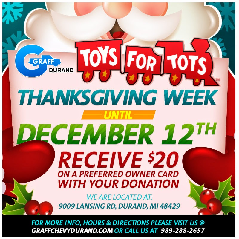 Join Graff Chevy Durand in Supporting Toys for Tots Now Through December 12th!