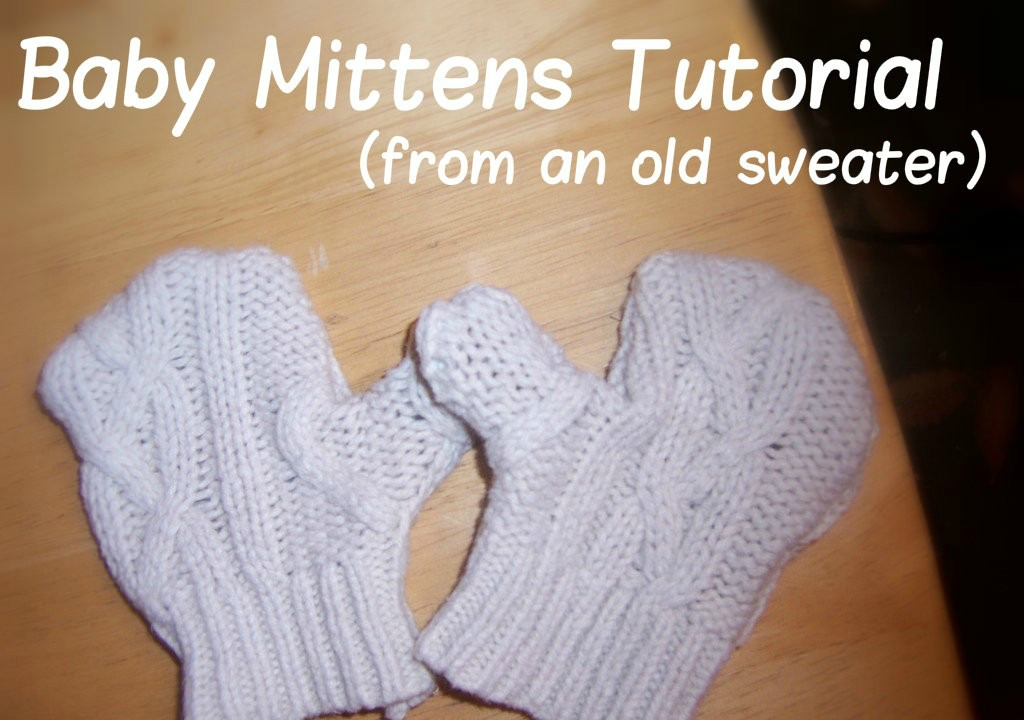DIY baby mittens made from old sweater