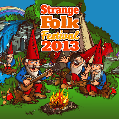 illustrated logo for Strange Folk Festival