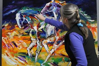 Caballos Abstractos con Espatula al Oleo